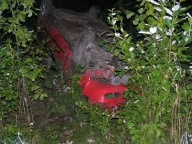 Машина перевернулась